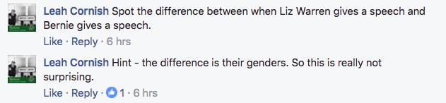 Comments about Elizabeth Warren's popularity.