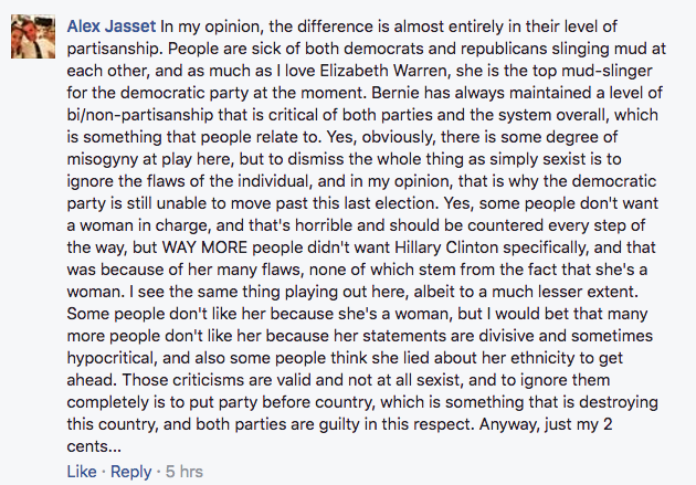 Facebook comments about Elizabeth Warren's popularity.