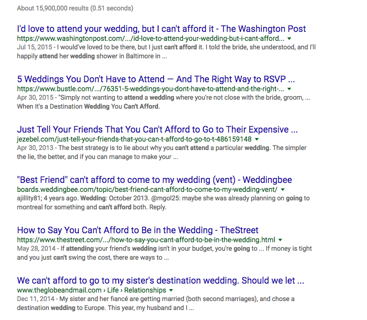 can't afford wedding google results