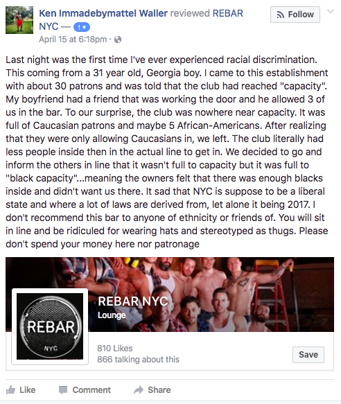 Facebook post about Rebar NYC.
