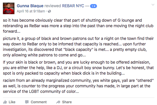 Facebook comments about Rebar NYC.