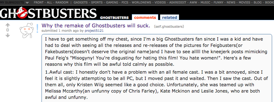 Male commenting on Ghostbusters remake female cast