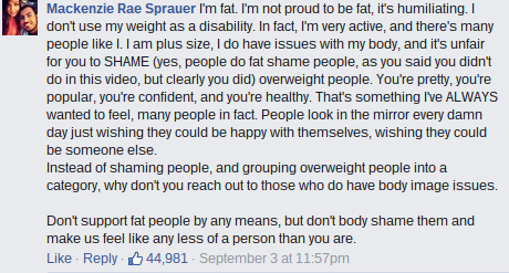 "Nicole Arbour ""Dear Fat People"" responses"
