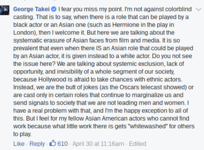 George Takei facebook comment