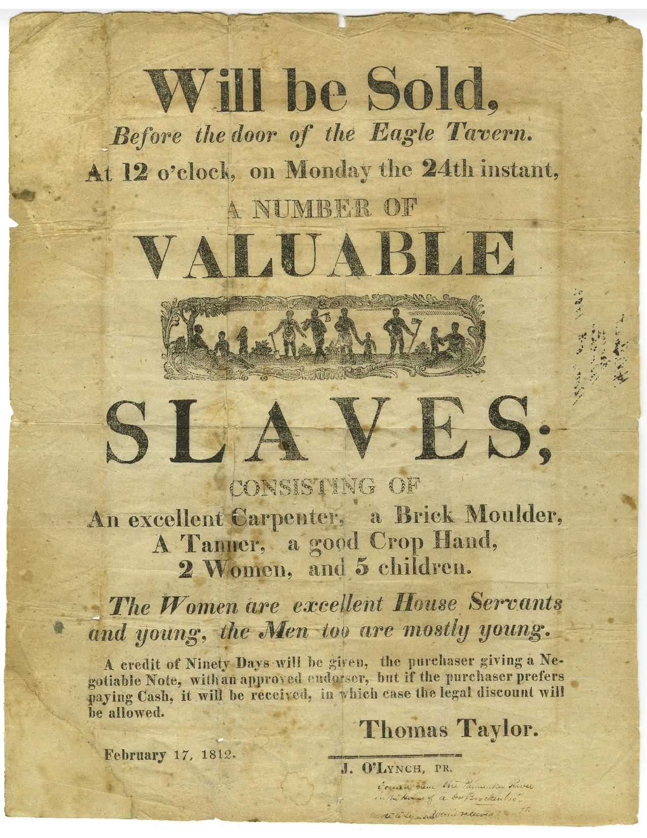 A slave sale poster.
