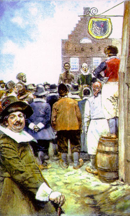 """""""The first slave auction in New Amsterdam in 1655. By Howard Pyle 1917."""""""