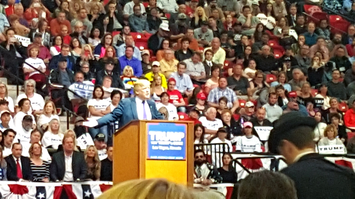 Donald Trump speaks to crowd in Las Vegas