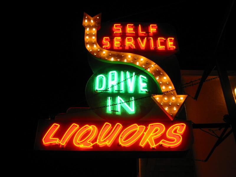 Liquor store neon sign