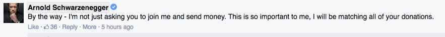 Screenshot of Arnold Schwarzenegger comment on anti-gerrymandering campaign