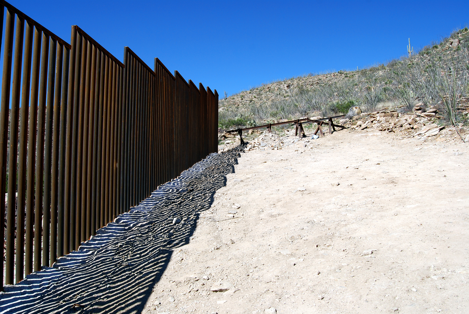 End of border fence between the US and Mexico