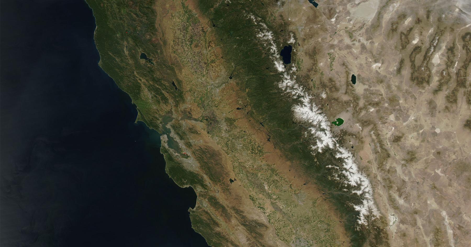 Satellite photo of the California Coast