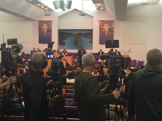 House of Prayer Missionary Baptist Church as Hillary Clinton prepares to take the stage