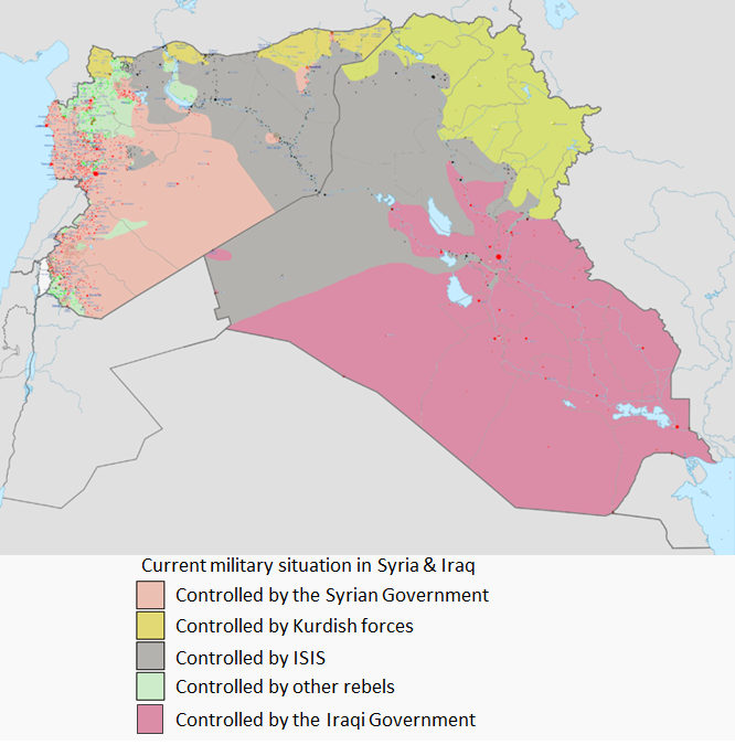The current military situation in Syria and Iraq between the Syrian government, Iraqi Government, ISIS, Kurdish, and other rebel groups
