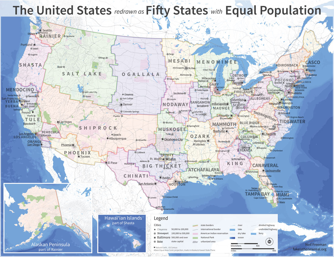 Electoral Map Redrawn To Give States Equal Population ATTN - Us electoral college weight map