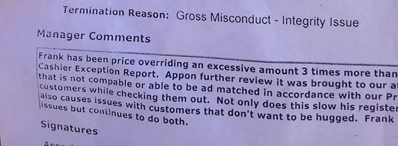 Close up of Wal-mart paperwork
