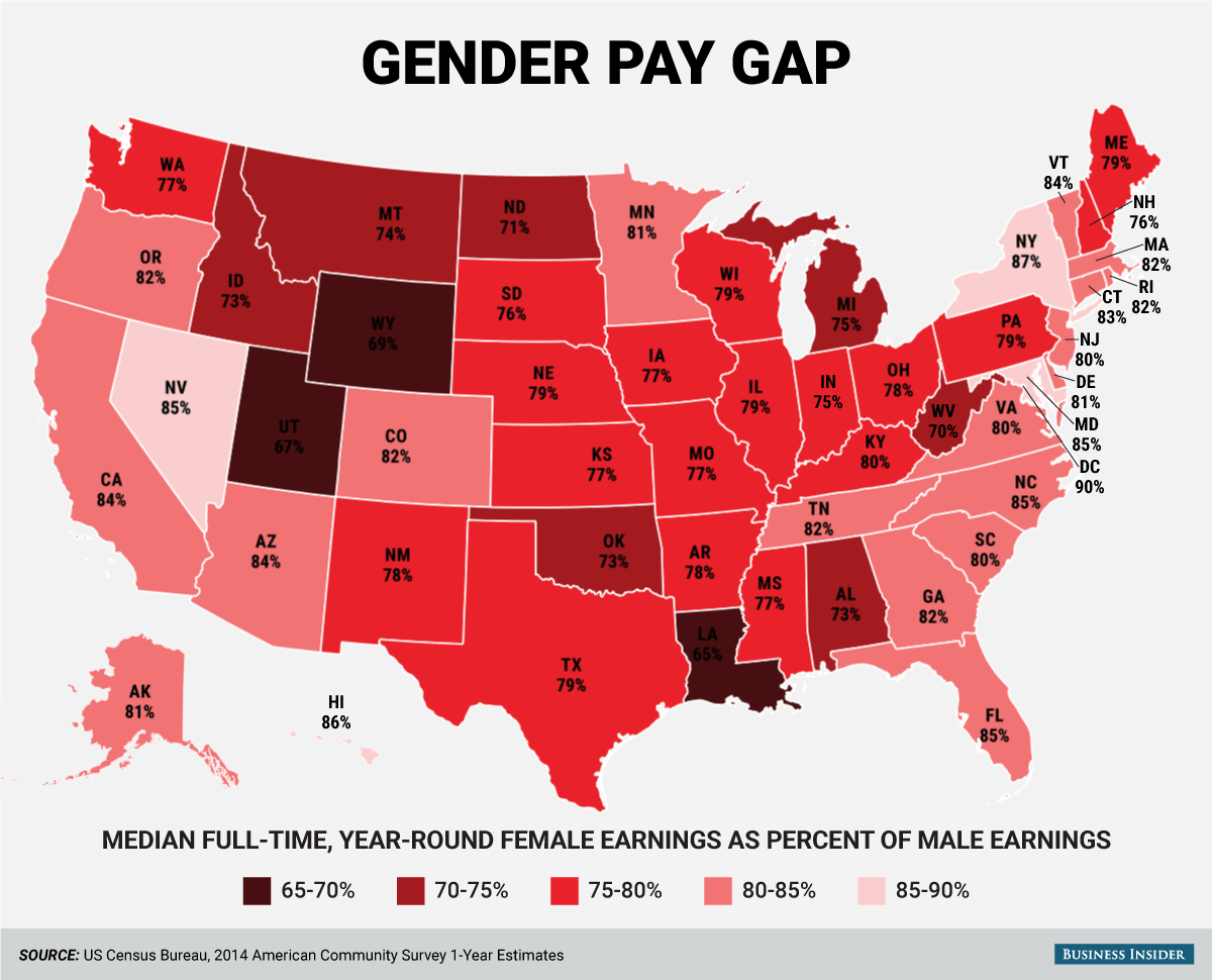 Map Of The Gender Pay Gap In The United States ATTN - Us map electoral votes 2016 unfilled