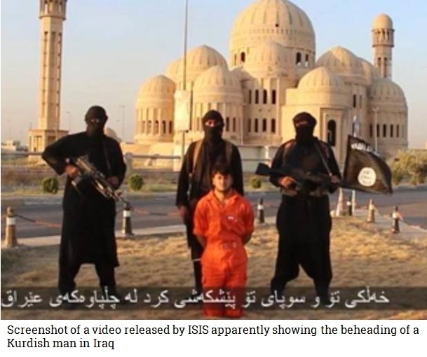 Screenshot of a video released by ISIS apparently showing the beheading of a Kurdish man in Iraq