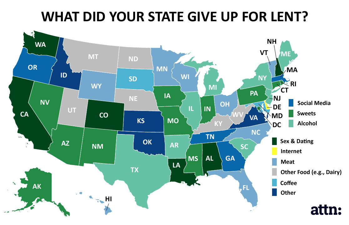 State-by-state map of what people gave up for Lent in 2016