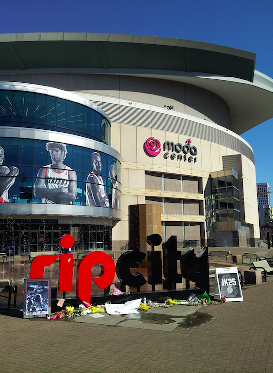Memorial to Jerome Kersey in front of the Moda Center, Portland, Oregon (2015)