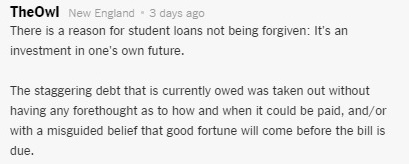 Public comment shaming students for taking on student debt from NYT reader.