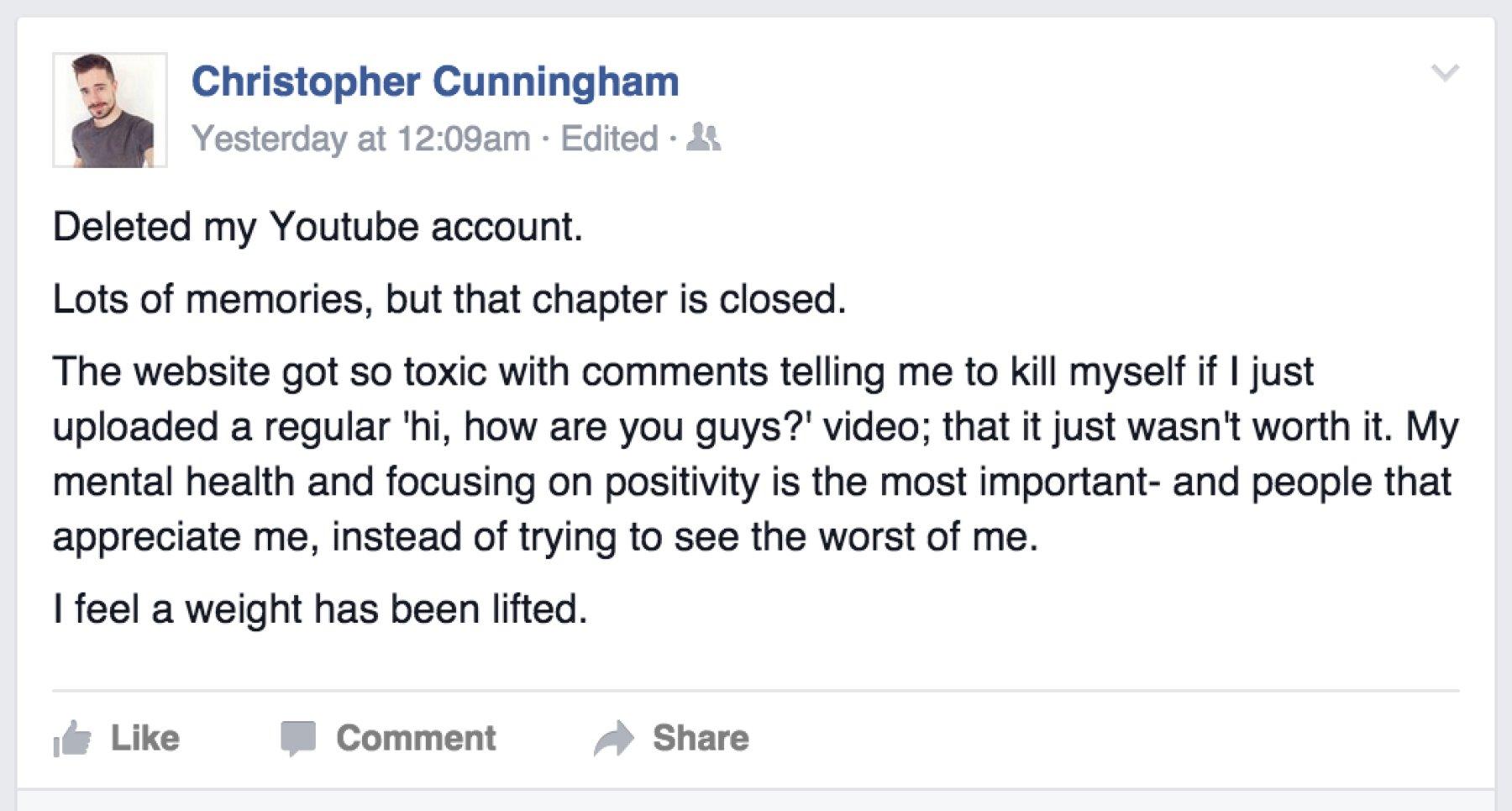Chris Crocker leaves YouTube
