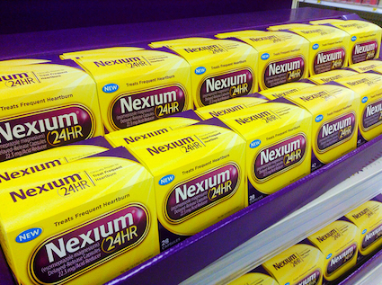 Packages of Nexium on the shelf.