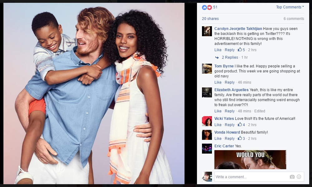 Interracial ad with comments on Old Navy's Facebook page.