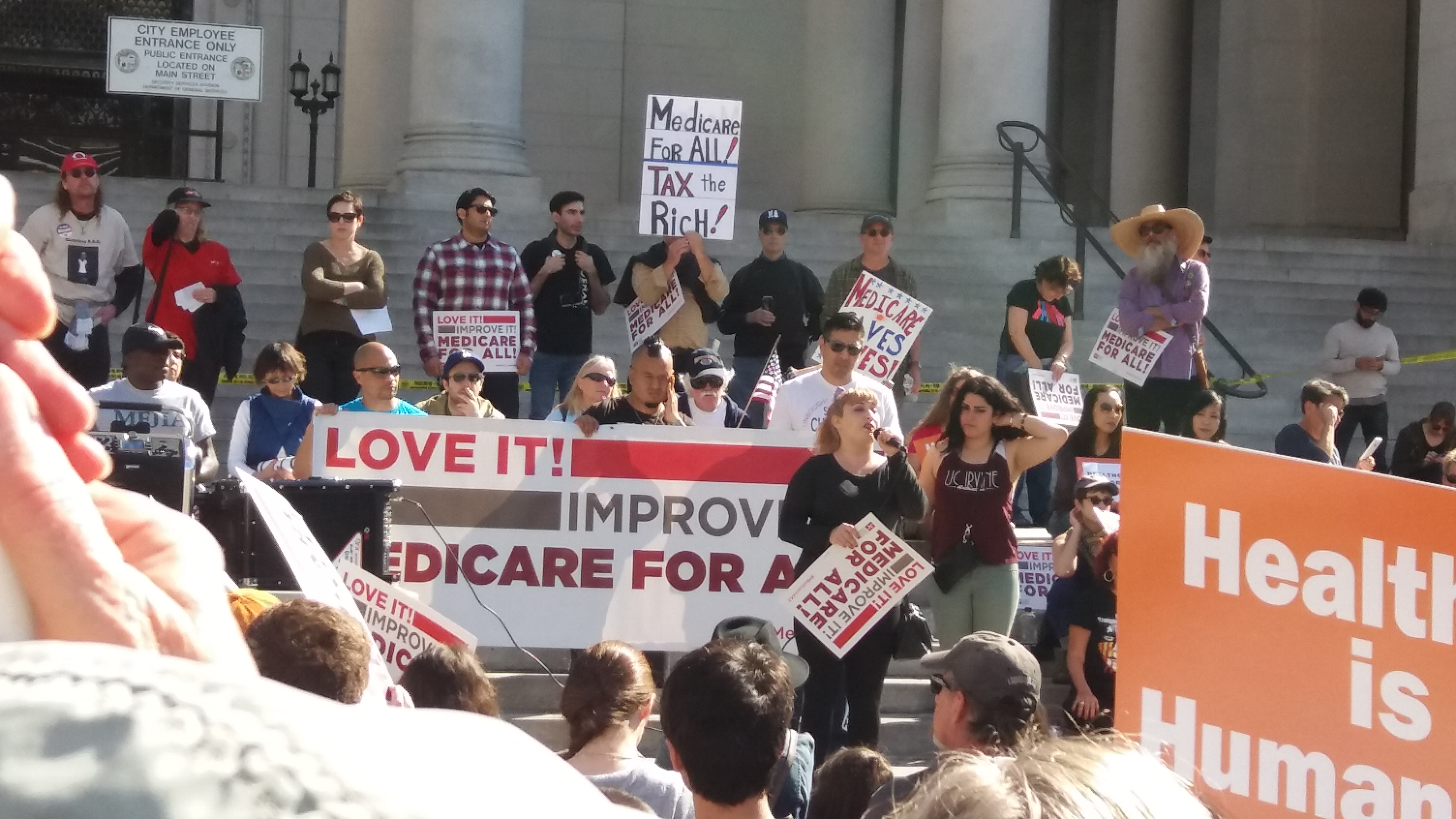 A February rally for single payer health care in Los Angeles