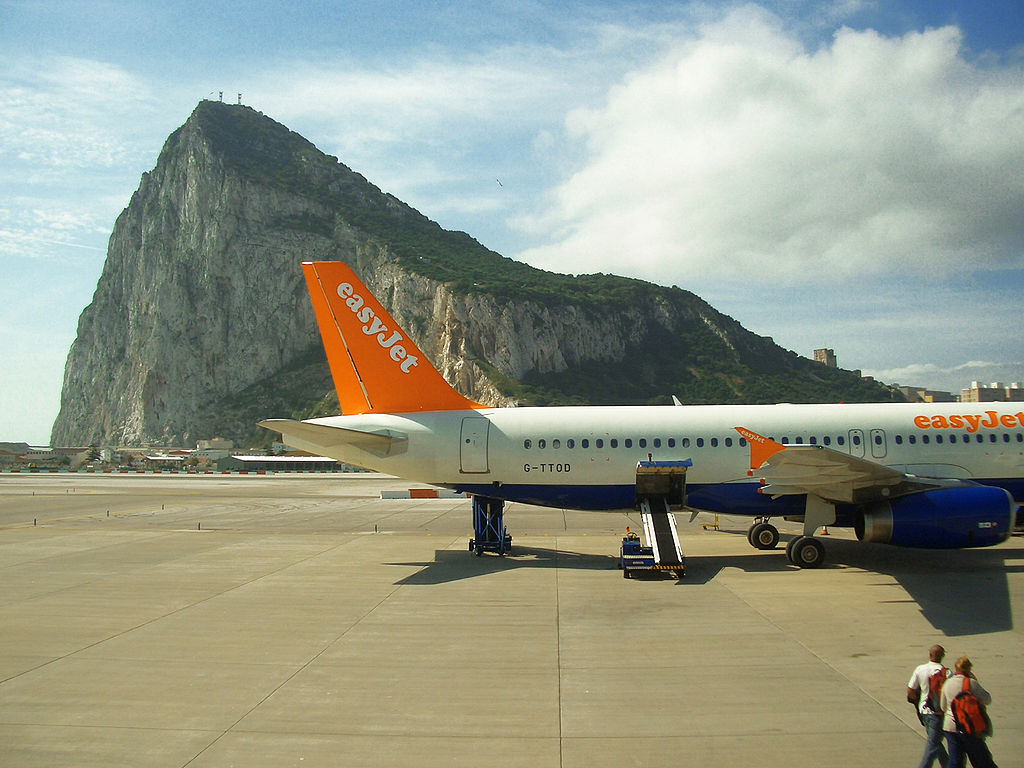 Jet with Rock of Gibraltar