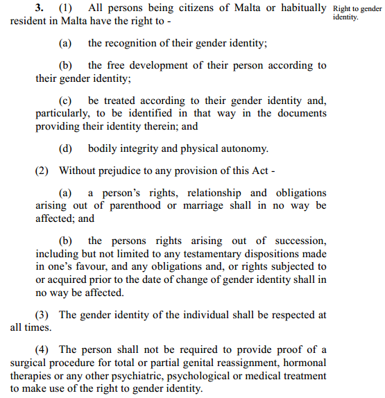 Text of Malta's proposed gender identity bill.