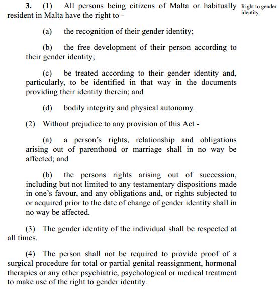 Text of Malta's proposed gender identity bill.