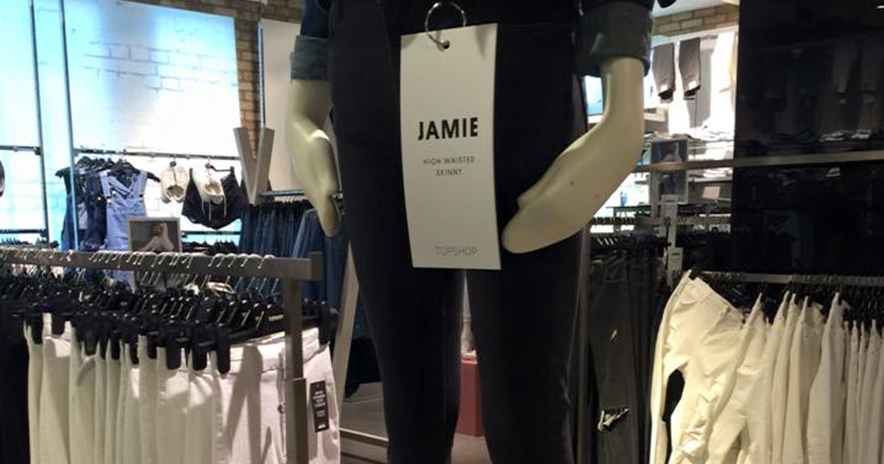 Mannequin at popular UK clothing store TopShop