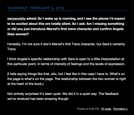 Kieron Gillen's statement about Sera on Tumblr.