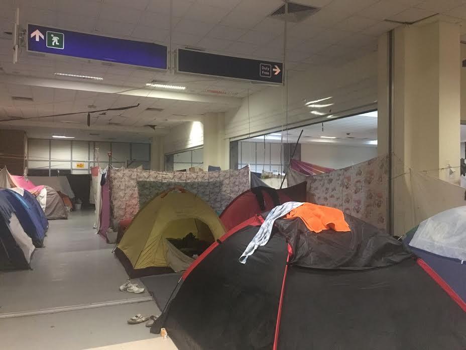 Tents inside Elliniko Airport