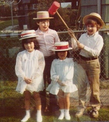 Elin Riggs (front, left) and her family when she was a child.